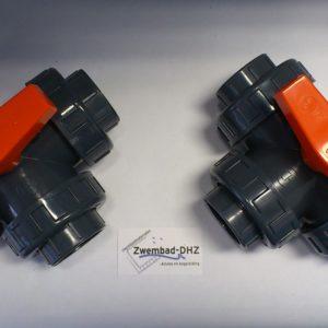 PVC 3-weg kogelkraan 50 mm gelijmd PN16-0