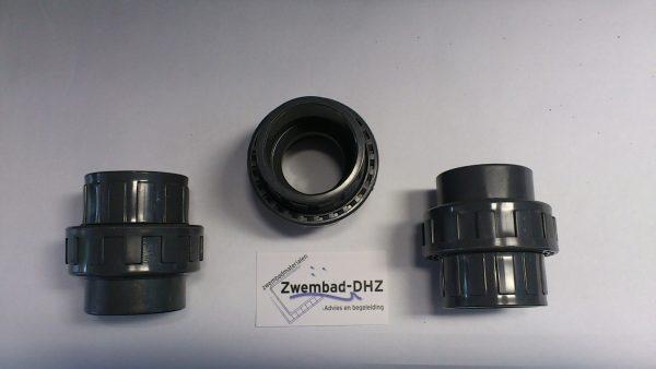 PVC 3-delige koppeling 50 mm gelijmd PN16-0