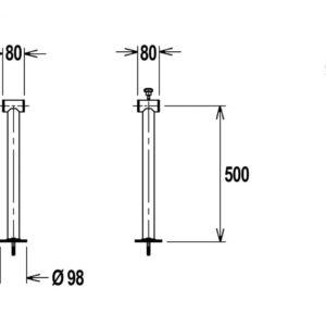 Flexinox telescopisch oprolsysteem 5,3 tot 6,9 mtr (enkelvoudige support)-3005