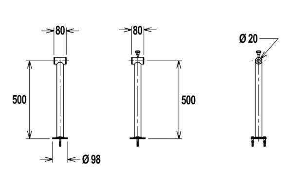 Flexinox telescopisch oprolsysteem 2,5 tot 4,5 mtr (enkelvoudige support)-3015