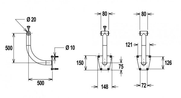 Flexinox telescopisch oprolsysteem 4,3 tot 5,7 mtr (muursteun)-3017