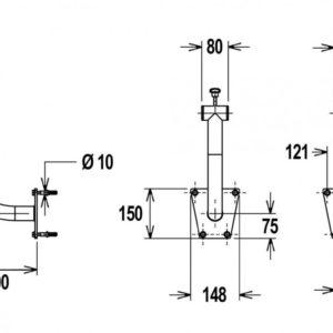 Flexinox telescopisch oprolsysteem 2,5 tot 4,5 mtr (muursteun) -3018