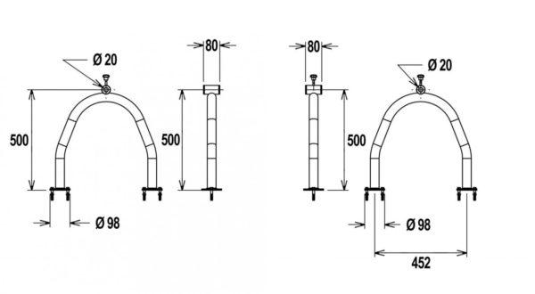 Flexinox telescopisch oprolsysteem 4,3 tot 5,7 mtr (U-support met flenzen)-3009