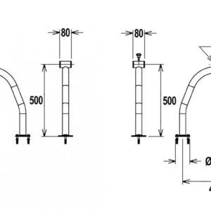 Flexinox telescopisch oprolsysteem 2,5 tot 4,5 mtr (U-support met flenzen)-3010
