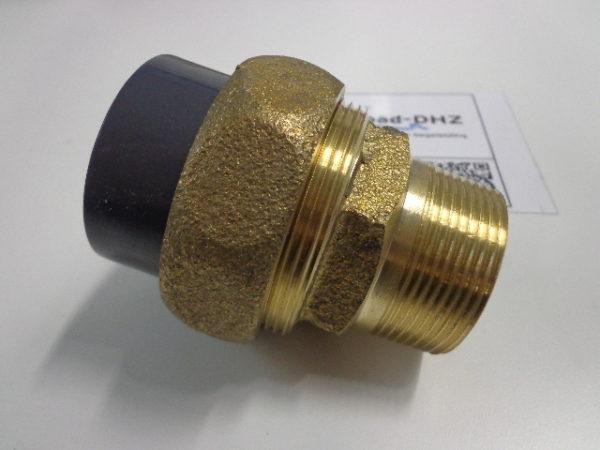 """PVC / messing koppeling 50 mm lijm x 1.1/2"""" draad - 10bar (voor warmtewisselaar aansluiting)-2402"""