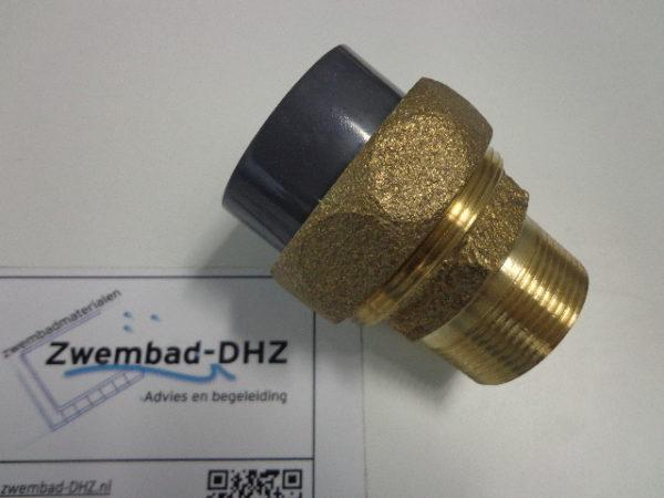 """PVC / messing koppeling 50 mm lijm x 1.1/2"""" draad - 10bar (voor warmtewisselaar aansluiting)-0"""