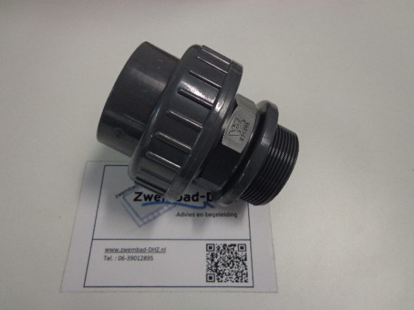 "PVC koppeling 50 mm lijm x 1.1/2"" draad / met O-ring-0"