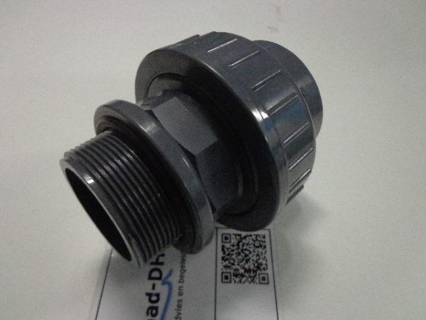 "PVC koppeling 63 mm lijm x 2"" draad / met O-ring-2508"