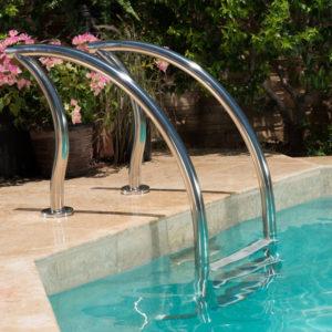 Designer zwembad trap / 3 treden / RVS 316L / kunststof treden-0