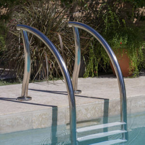 Designer zwembad trap / 4 treden / RVS 304 / kunststof treden-0