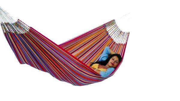 Tropical hangmat dubbel / afmeting 2.3×1.46 mtr / kleur blauw-0